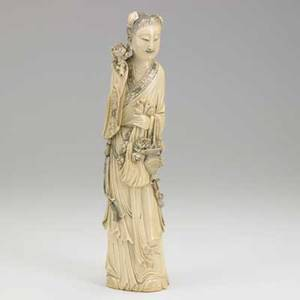 Chinese ivory figure carved flower seller with display of various blooms 20th c signed 14 14