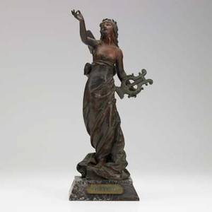 Eutrope bouret french 18331906 poesie des champs bronze sculpture on marble base signed 16 34