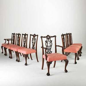 Set of eight chippendale style dining chairs two arm and six side with mahogany frames ribbon backs and ball and claw feet 20th c armchair 39 x 23 x 23