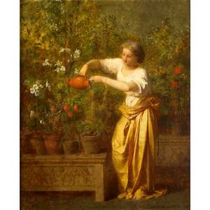 Jeanlouis hamon french 18211874 oil on canvas of a woman in a garden framed signed 15 x 18 12