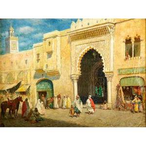 Addison t millar american 18601913 oil on canvas of a middle eastern market scene framed signed and dated 1909 artist thumbprint on recto and verso 12 x 16