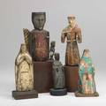 Santos figures five in polychrome decoration 18th19th c heavily worn tallest 13 with base