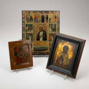 19th c russian icons three on wood panel one depicting st seraphim largest 10 38 x 12 14