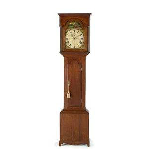 English grandfather clock oak case with porcelain painted dial time and strike movement with sweep second hand ca 1800 signed coatesworth middleton 84 x 21 12 x 10
