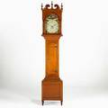 American grandfather clock allentown pennsylvania cherry case with 30hour movement painted dial and sheraton feet signed j weiss allentown 95 x 19 x 11