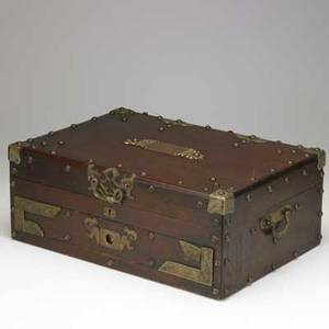 Silver chest mahogany with brass mounts early 20th c 7 x 17 12 x 12