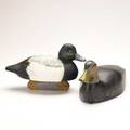 Stanley grant duck decoys black duck and wood duck 20th c black duck marked 1935 stanley grant double trouble cedar stanley son of henry larger 6 x 16 12 x 6