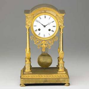 French empire portico clock dore bronze with porcelain dial and time and strike movement late 19th c signed jb gibbons paris 14 12 x 9 x 5 34