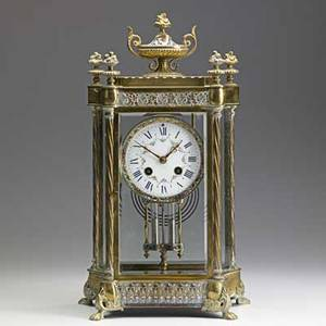 French enamel mantle clock brass case with painted porcelain dial and enamel decoration late 19th c 15 x 8 12 x 5 12
