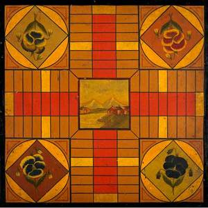 American painted game board doublesided board for parcheesi and checkers with scenic center vignette on one side late 19th c 19 sq
