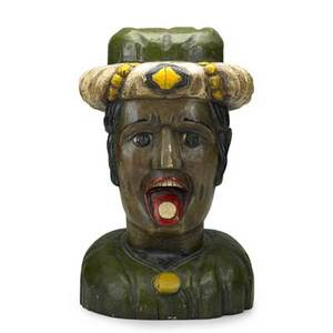 Folk art carving paint decorated wood figure with coin on tongue 20th c 23 x 14 x 13
