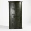 Barrelfront corner cupboard interior spoon cutouts and mounted panel doors probably english 19th c 71 12 x 40 x 21