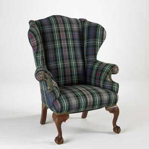 Chippendale style wing chair mahogany frame with plaid upholstery and ball and claw feet 20th c 14 x 36 x 36