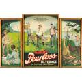 Peerless beverage sign chromolithograph triptych early 20th c framed 29 x 42 total