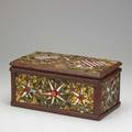 Tramp art memory box decorated with american flags ca 1900 7 x 14 x 7 12 provenance clifford a wallach greenwich ct