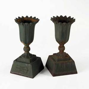 Pair of cast iron planters tulipshaped on square base early 20th c marked cascade foundry erie pa 21 x 10 sq