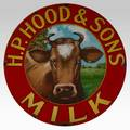 Hp hood  sons milk sign red and white tin litho sign with cow ca 1900 30 dia provenance noel barrett carversville pa