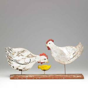 Folk art pecking chickens carved and painted wood mounted on wood panel 20th c 13 x 23 x 6