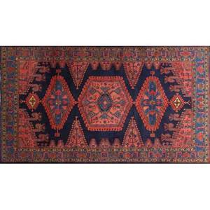 Persian oriental rug red center medallion on blue ground 20th c 121 x 82