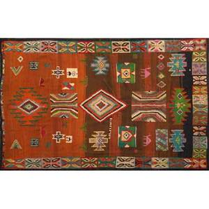 Kilim area rug all over geometric design in orange brown and blue with black border 20th c 108 x 78