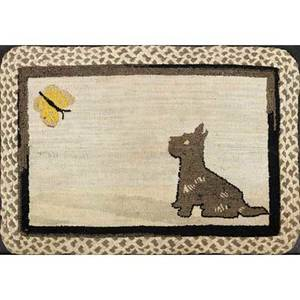 20th c american hooked rug dog and butterfly on gray ground with archival mount for hanging 20th c 21 x 30