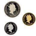 1995 australian three metal set proof three coins platinum koala bear 1 ot gold kangaroo 1 ot silver kookaburra 1 ot