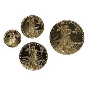 1991 american eagle proof set four gold coins in fitted box 5000 1 ot 2500 12 ot 1000 14 ot 500 110 ot
