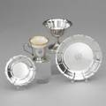 Je caldwell antique irish sterling dessert service ca 1928 made by richard dimes co boston serves 12 missing 2 saucers sorbet cups 3 12 plates 6 cup holders 2 12 over handle w