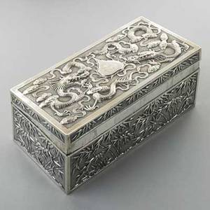 Chinese export silver repousse box ca 1900 dragon and cloud lid bamboo sides wn mark for wing nam  co hong kong 162 ot 7 x 3 12 x 2 34