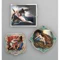 Three erotic continental enameled silver compacts 20th century 935 case depicts a nude pair embracing during a shipwreck 800 case depicts a satyr uncovering a sleeping nude chased floral and scrol