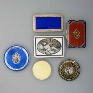 Six enameled silver accessories ca 19101930 900 silver austrian white enamel with pierced and monochromatic image of sleeping cherub with wine glass austrian sterling geometric enamel compact wit