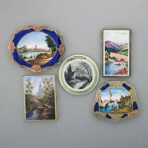 Five continental silver scenic enameled compacts 19001950 celadon guilloche and monochromatic landscape london sterling import marks 1925 swiss enamel landscape with aqueduct import marks lond
