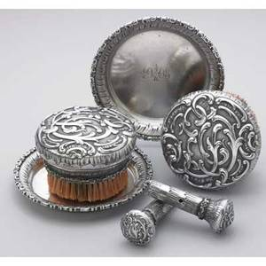 Silver chalk sets by nb bobir st petersburg 1908 circular brushes and trays in the rococo style raised and chased 84 silver used on a felt covered game board for score keeping and erasing 13