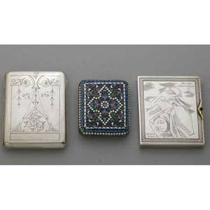 Three russian silver cigarette cases cloisonne enameled with tinned interior 3 x 2 12 neoclassical engraved moscow 19071928 4 x 3 water carrier engraved moscow 19271958 84 875 3 58