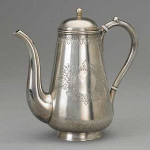 Russian silver coffee pot by ovchinnikov moscow 1889 assayer a romanov imperial warrant erased soviet control marks pearshaped with chased floral ornament gilt interior replaced insulators