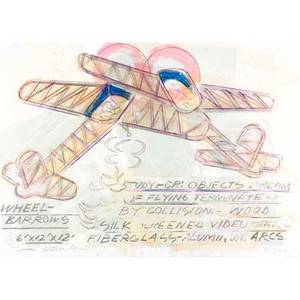 Dennis oppenheim american b 1938 study for objects dreams of flying 1992 lithograph in colors with handwork signed and dated from an edition of 40 34 x 48 sheet printer and publisher l