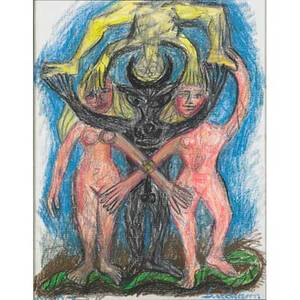 Bengt lindstrom swedish 19252008 adam and eve 1976 oil pastel on paper framed signed and dated 25 14 x 19 12 sight provenance private collection