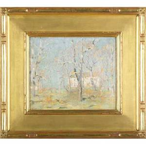 Thomas rathbone manley american 18531938 first signs of spring oil on board framed signed 10 18 x 12 provenance private collection pennsylvania