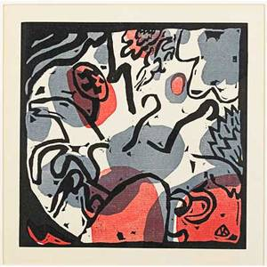 Wassily kandinsky russianfrench 18661944 drei reiter in rot blau und schwarz from klange 1913 woodcut in colors framed 8 58 x 8 58 image 10 x 10 sight from an edition of 300 p