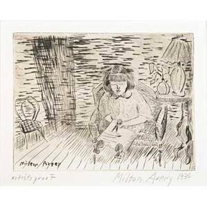 Milton avery american 18851965 child cutting a study of march avery 1936 drypoint on paper framed signed dated and numbered artists proof 5 14 x 6 78 plate 6 38 x 7 78 sight