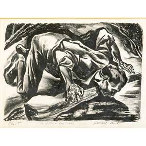 Herschel levit american 19121986 three lithographs take it away 1945  pieta 1947 and thirst all framed each signed and titled with inscription largest 13 14 x 9 34 provenance