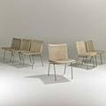Johannes hansenset of six of dining chairs denmark 1960svinyl and matte chromed steelmetal and foil labels each 31 x 19 12 x 22