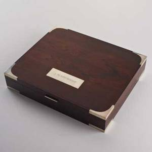 Hans hansensterling mounted rosewood box with fitted interior denmark 1960smarked 925 s hans hansen sterling denmark plaque engraved jh loveman2 12 x 13