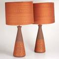 Danishpair of table lamps 1960sincised and painted ceramic woven fabric shadesunmarkedoverall 33 x 16 12 dia