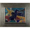 Italian futuristcarved and glazed ceramic plaque with horses ca1930in contemporary silverleafed frameillegibly signed parquioverall 22 12 x 27 14