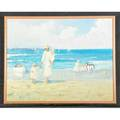 Two impressionist beach scenes 20th ctwo oil on canvas paintings both framedone signed fe morris the other lucille raadlarger 25 x 32