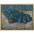 Stefan gierowski polish b 1925oil on canvas of still life with blue fruit 1959 framedsigned and dated18 x 23