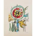 Fernand leger french 18811955lithograph in colorsles deux oiseaux from la ville 1959stamp signature and numbered25 78 x 19 34 sheet