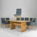 Jay spectrecenturydining table and eight chairs twoarm sixsideelm brass and upholsterylabeled31 x 80 x 44  chair 38 x 20 x 24