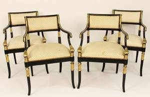 Four Regency Style Ebonized  Gilt Wood Chairs